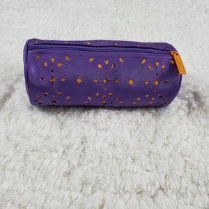 Clinquie Purple Orange 7x4 makeup bag cylinder zip